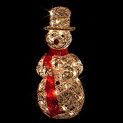 28 Inch Standing White Rattan Snowman 35 Clear Lights Box of 2