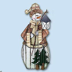30 Inch Wood Snowman With Lantern Box of 2