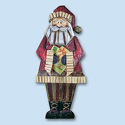 31 Inch Wood Santa Holding Present Box of 2