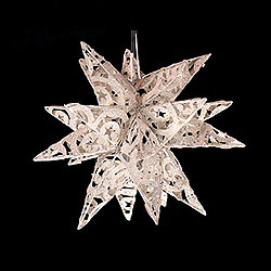 14 Inch 3D White Mica Metal Star 20 Lights Box of 4