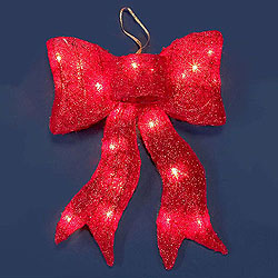 16 Inch Red Bow 20 Lights Box of 4