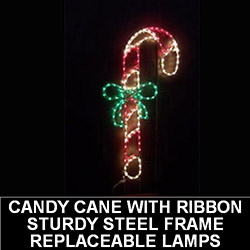 Candy Cane with Bow LED Lighted Outdoor Christmas Decoration