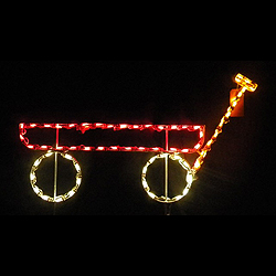 Little Red Wagon LED Lighted Outdoor Lawn Decoration