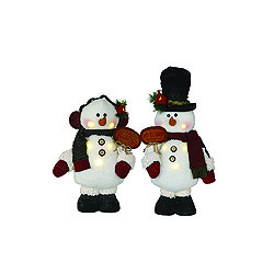 16 Inch LED Lighted Snowmen With Signs Figurines Box of 2