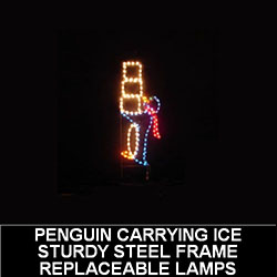 Penguin Carrying Ice LED Lighted Outdoor Christmas Decoration