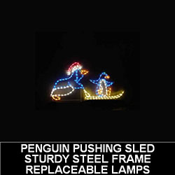 Penguin Pushing Baby On Sled Lighted Outdoor Christmas Decoration