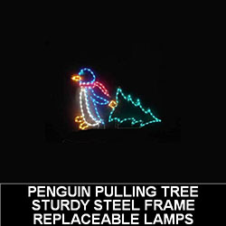 Penguin Dragging Christmas Tree LED Lighted Outdoor Christmas Decoration