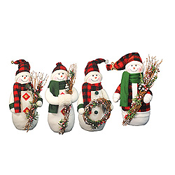 12 Inch Plaid Snowmen Decorations Box of 4