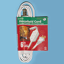 6 Foot Indoor Extension Cord White Wire Box of 10