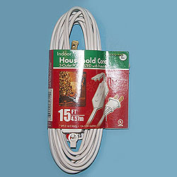 15 Foot Indoor Extension Cord White Wire Box of 10