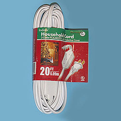 20 Foot Indoor Extension Cord White Wire Box of 10