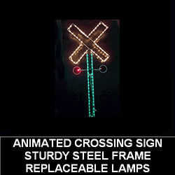Railroad Crossing LED Lighted Outdoor Christmas Decoration