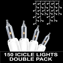 150 Mini Clear Icicle Lights White Wire Box of 2