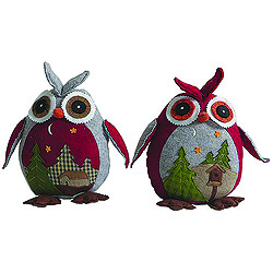 10 Inch Country Owl Decorations Box of 2