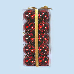 2 Inch Red Shatterproof Plastic Shiny Round Ornaments Box of 120