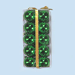 2 Inch Green Shatterproof Plastic Shiny Round Ornaments Box of 120