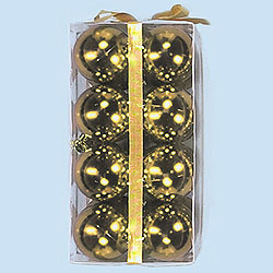 2.5 Inch Gold Shatterproof Plastic Shiny Round Ornaments Box of 96