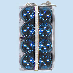 2.5 Inch Blue Shatterproof Plastic Shiny Round Ornaments Box of 96