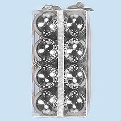 2.5 Inch Silver Shatterproof Plastic Shiny Round Ornaments Box of 96