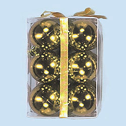 3 Inch Gold Plastic Shatterproof Shiny Round Ornaments Box of 72