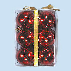 3 Inch Red Plastic Shatterproof Shiny Round Ornaments Box of 72