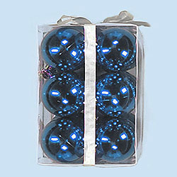 3 Inch Blue Plastic Shatterproof Shiny Round Ornaments Box of 72