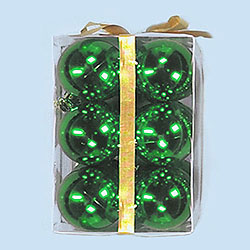 3 Inch Green Plastic Shatterproof Shiny Round Ornaments Box of 72