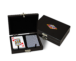 Black Wooden 2 Deck Card Box