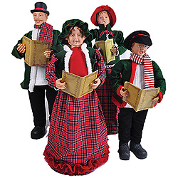 37 Inch Red Plaid Dickens Carolers Table Decorations Set Of 4