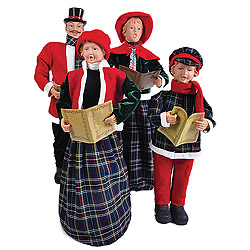 37 Inch Blue Plaid Dickens Carolers Table Decorations Set Of 4