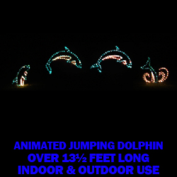 4 Piece Animated Jumping Dolphins LED Lighted Outdoor Lawn Decoration