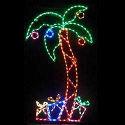 palm tree with ornaments and gifts led lighted outdoor lawn decoration