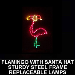 Large Flamingo With Santa Hat Outdoor LED Lighted Christmas Decoration