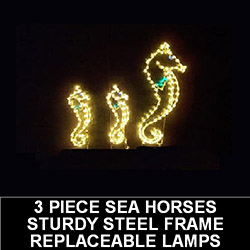 3 Piece Sea Horses LED Lighted Outdoor Lawn Decoration