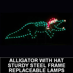 5 Foot Alligator With Santa Hat Lighted Outdoor Christmas Decoration
