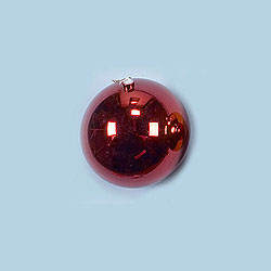 8 Inch Red Shatterproof Round Ornament Box of 4