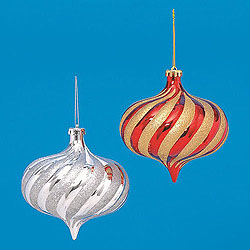 6 Inch Spiral Glitter Onion Ornaments Assorted Colors Box of 27