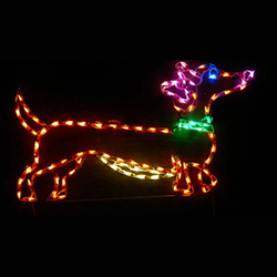 Female Dachshund With Bow Lighted Outdoor Lawn Decoration