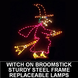 Witch On Broom LED Lighted Outdoor Halloween Decoration