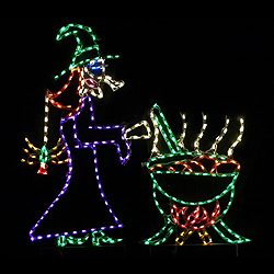 Witch with Cauldron LED Lighted Outdoor Halloween Decoration