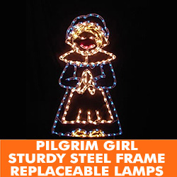 Pilgrim Girl Lighted Outdoor Thanksgiving Decoration