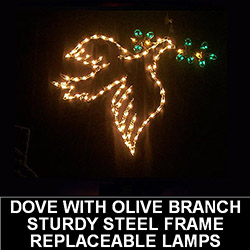 Dove Wth Olive Branch Hanging LED Lighted Outdoor Lawn Decoration