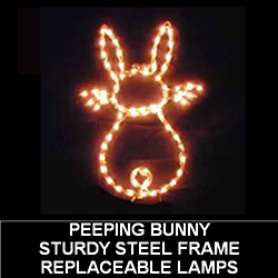 Clear Easter Bunny Peep Outdoor Lighted Easter Decoration