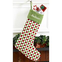 Checkered Green Velvet Personalized Christmas Stocking