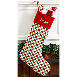 Checkered Red Velvet Personalized Christmas Stocking