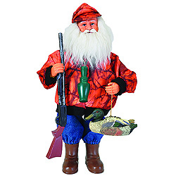 15 Inch Duck Hunter Santa Claus Decoration
