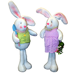 13.5 inch Standing Fabric Bunny Set Of 2