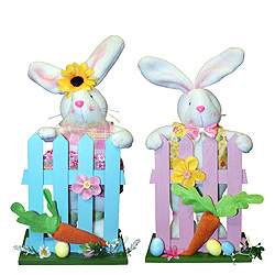 12.5 inch Standing Fabric Bunny With Fence Set Of 2