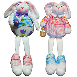 25 Inch Fabric Sitting Bunny Set Of 2