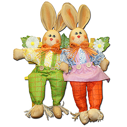 12 Inch Bunny Couple On A Bench Decoration